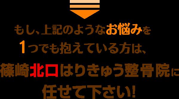 もし、上記のようなお悩みを一つでも抱えている方は篠崎北口はりきゅう整骨院に任せて下さい!